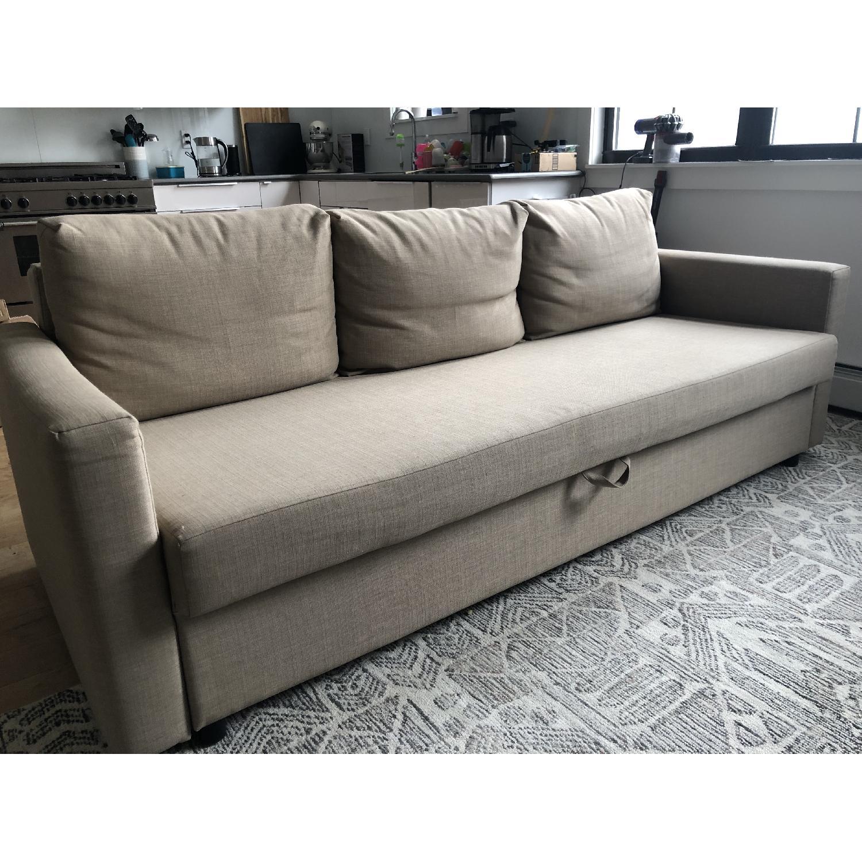 Ikea Friheten Beige Sleeper Sofa w/ Storage-0