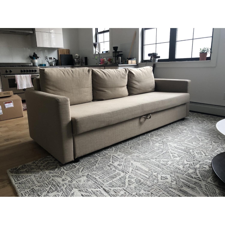 Ikea Friheten Beige Sleeper Sofa w/ Storage-1