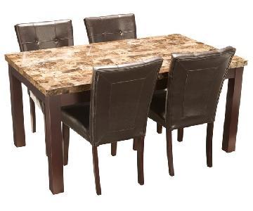 Raymour & Flanigan Bedrock 5-Piece Marble Dining Set