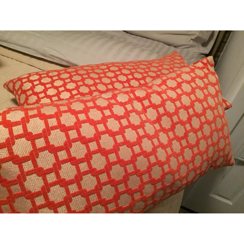 Orange Geometric Throw Pillows - image-2