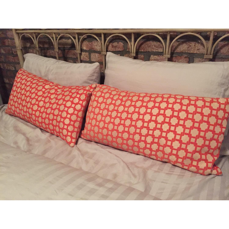 Orange Geometric Throw Pillows - image-3