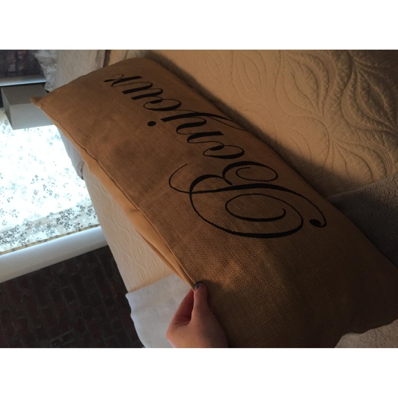 Bonjour Burlap Decorative Pillow - image-1