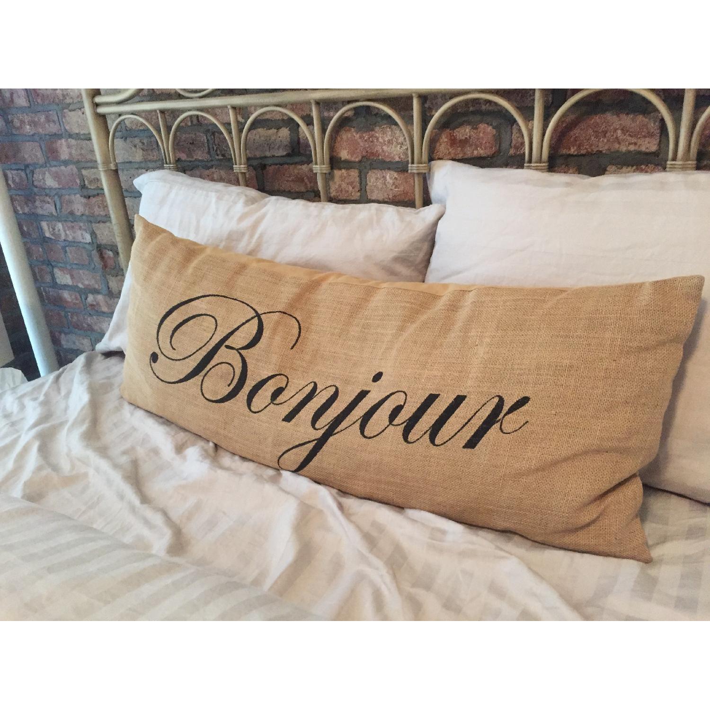 Bonjour Burlap Decorative Pillow - image-2