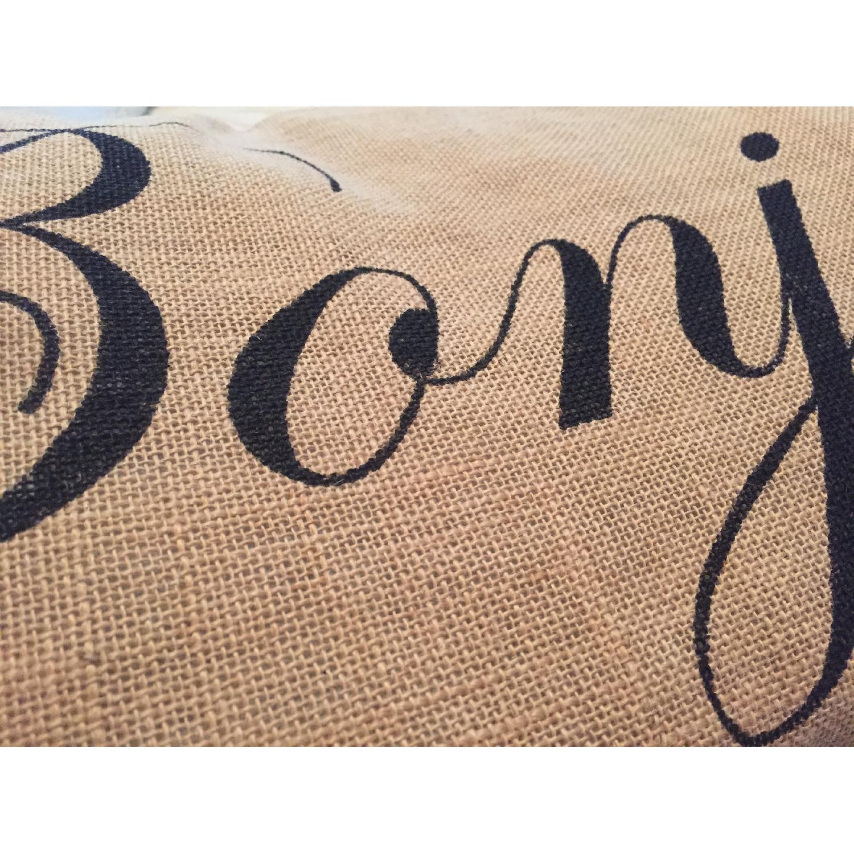 Bonjour Burlap Decorative Pillow - image-3