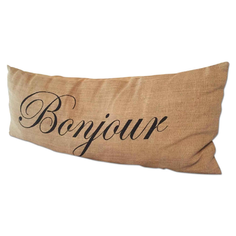 Bonjour Burlap Decorative Pillow - image-0