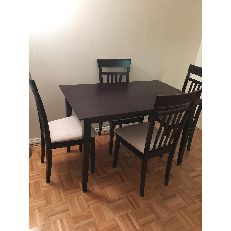 Dark Brown 5 Piece Wood Dining Set - image-1