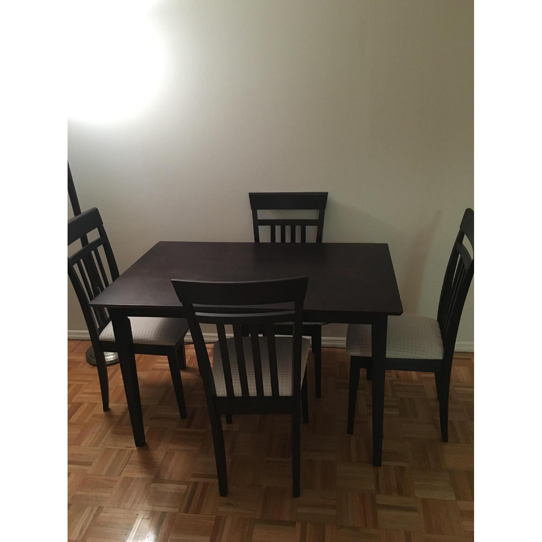 Dark Brown 5 Piece Wood Dining Set - image-2