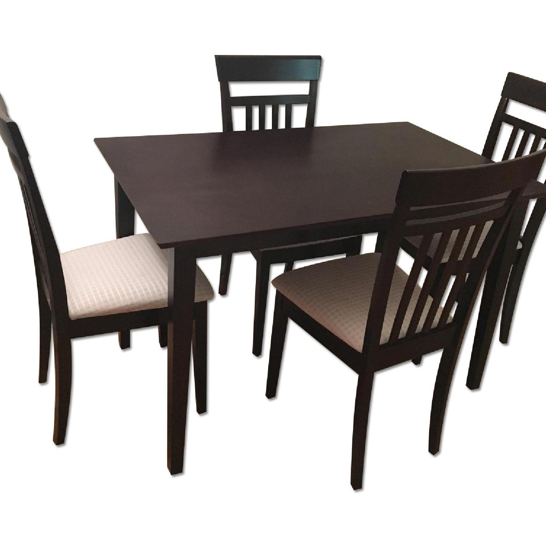 Dark Brown 5 Piece Wood Dining Set - image-0