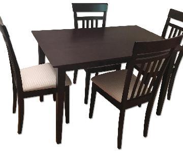 Dark Brown 5 Piece Wood Dining Set