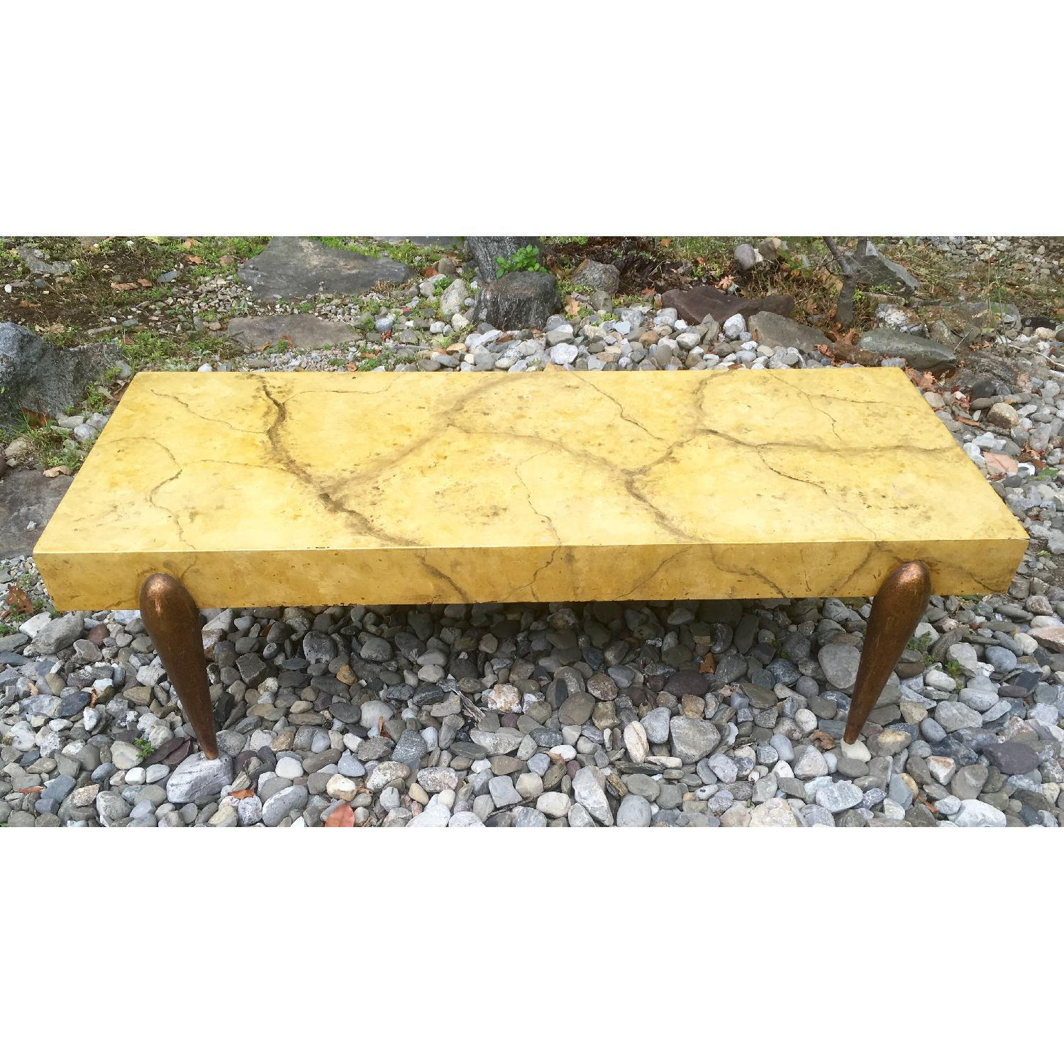 1940's Hollywood Regency Faux Marble Coffee Table - image-1