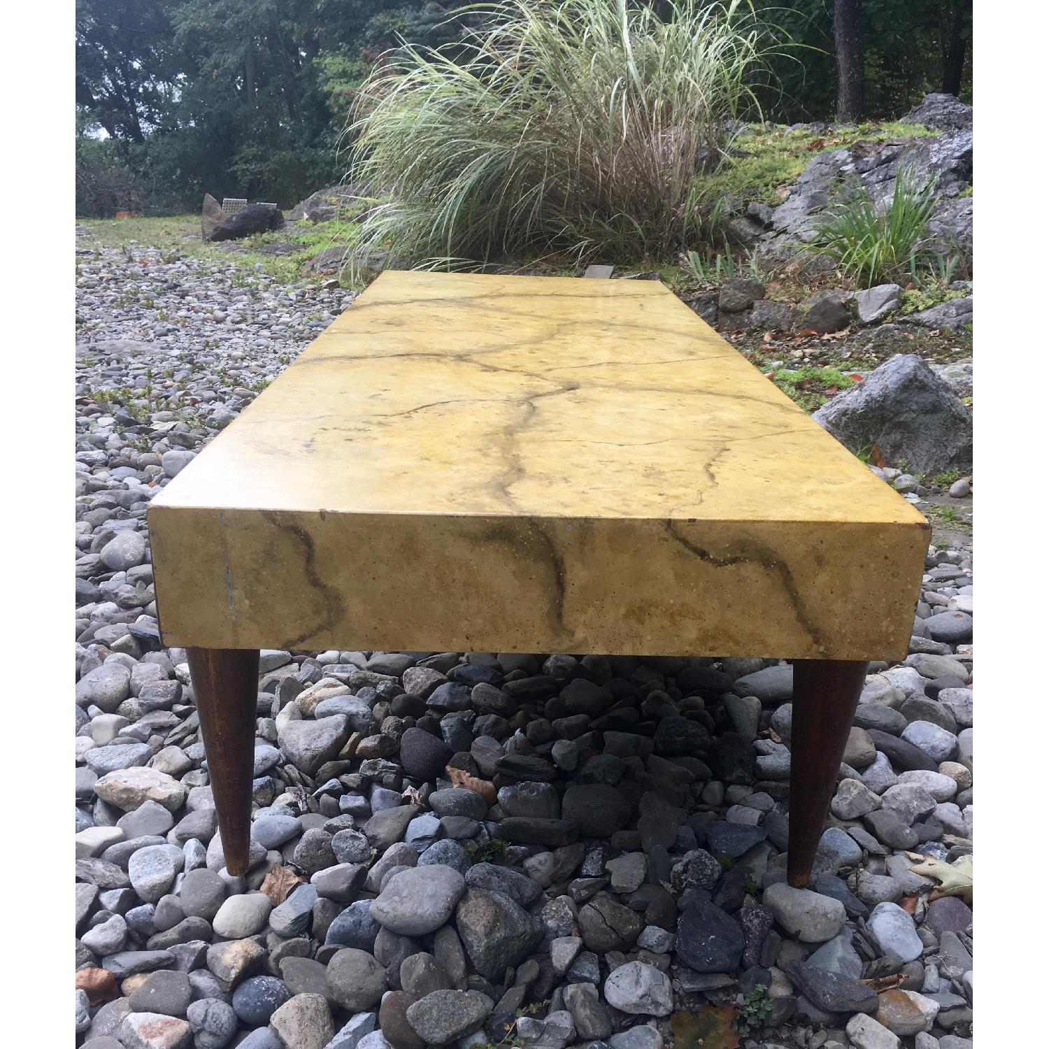 1940's Hollywood Regency Faux Marble Coffee Table - image-3