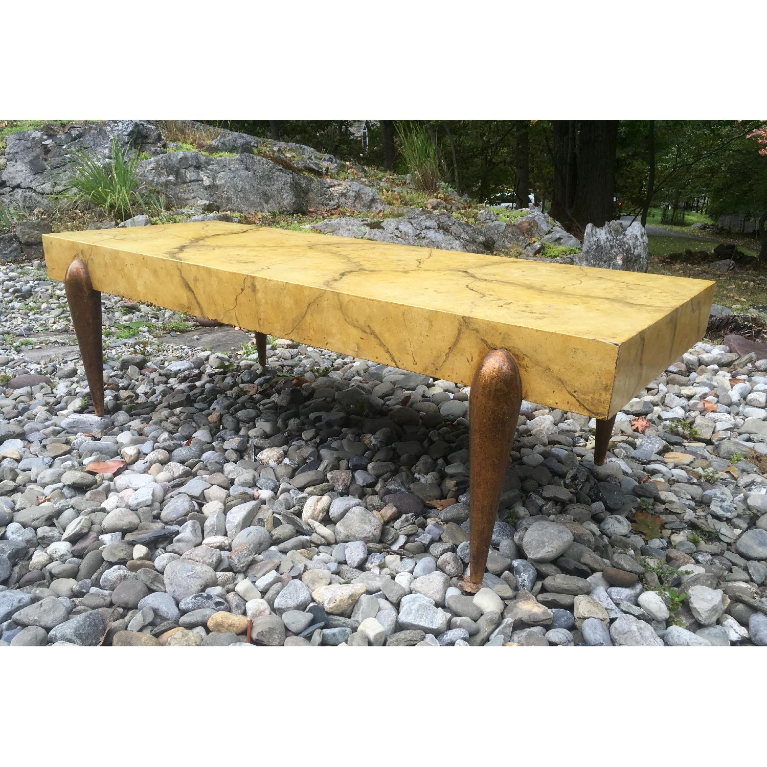 1940's Hollywood Regency Faux Marble Coffee Table - image-4