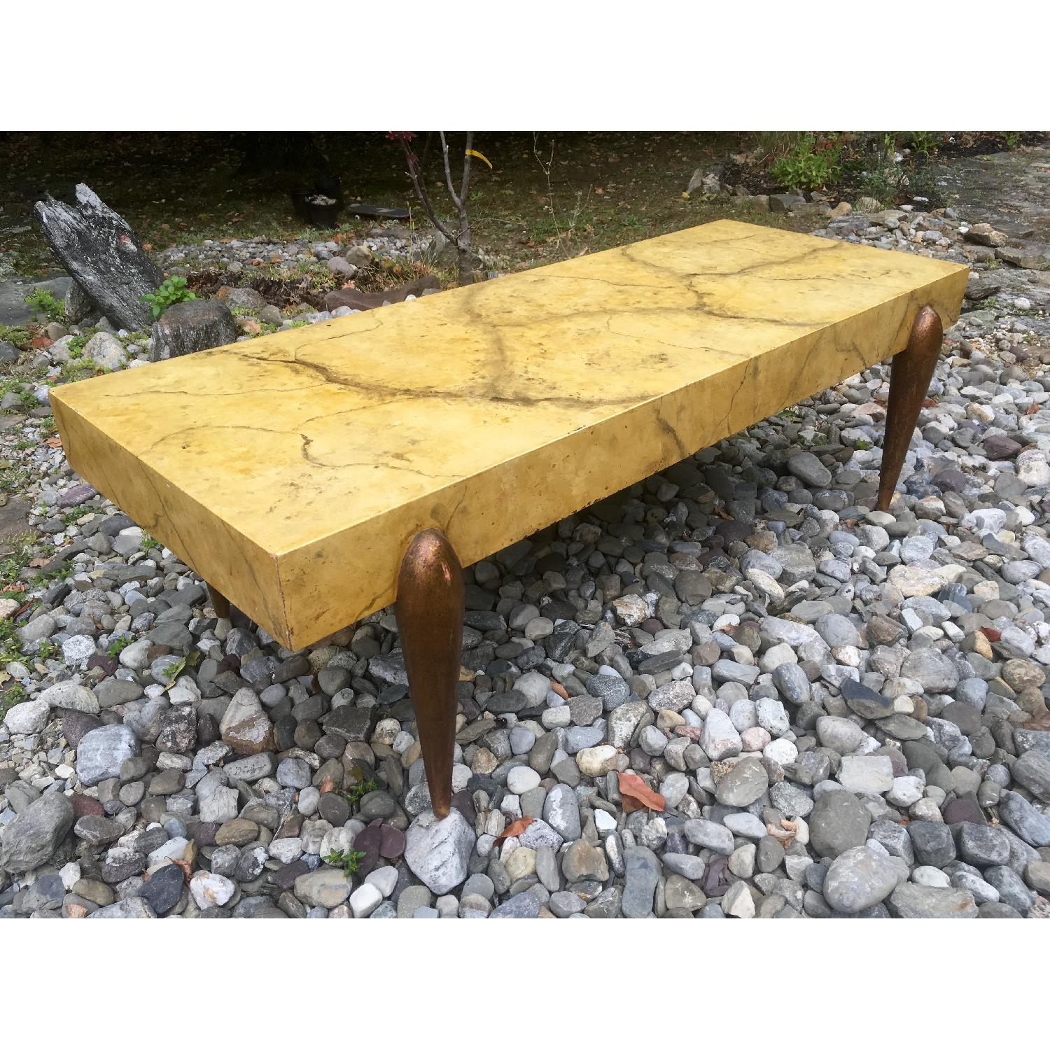 1940's Hollywood Regency Faux Marble Coffee Table - image-5