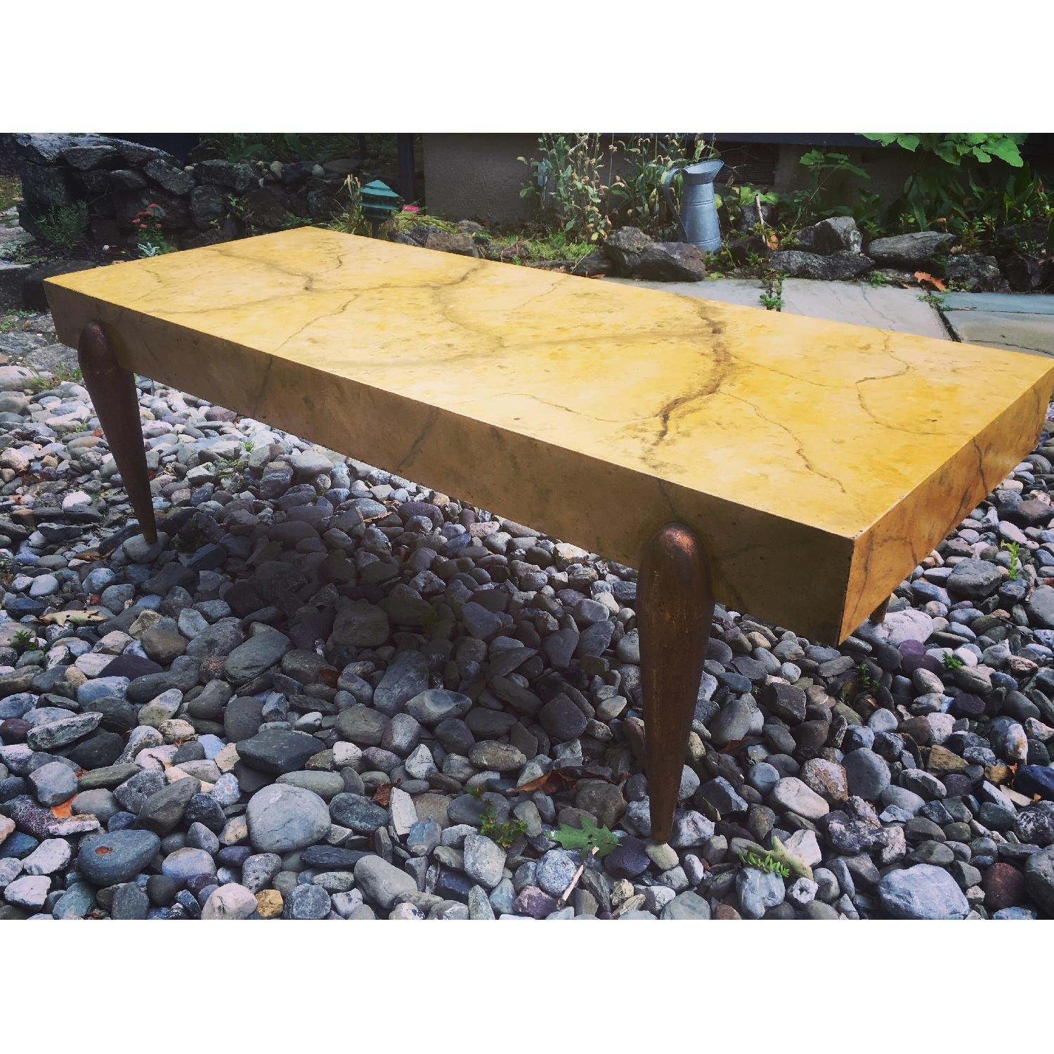 1940's Hollywood Regency Faux Marble Coffee Table - image-7