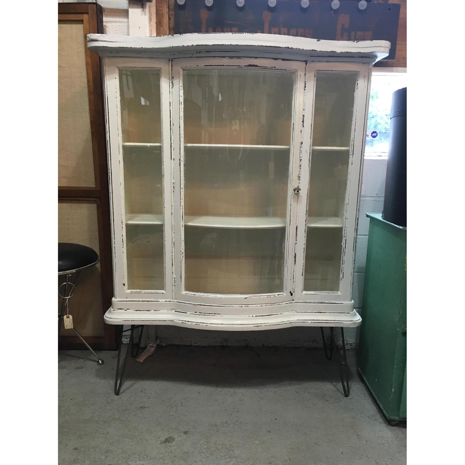 Antique Serpentine Bowed Glass China Cabinet - image-1
