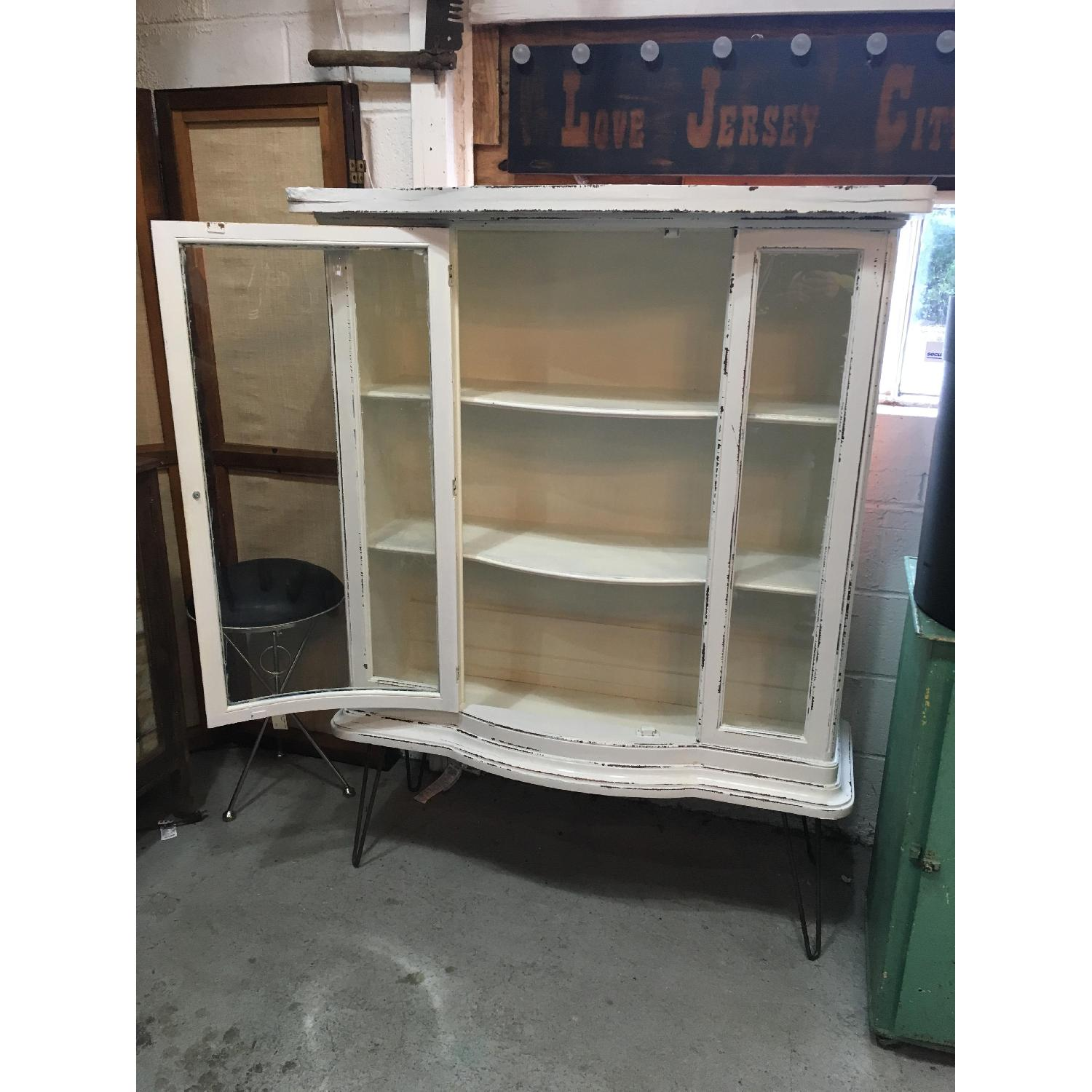 Antique Serpentine Bowed Glass China Cabinet - image-2