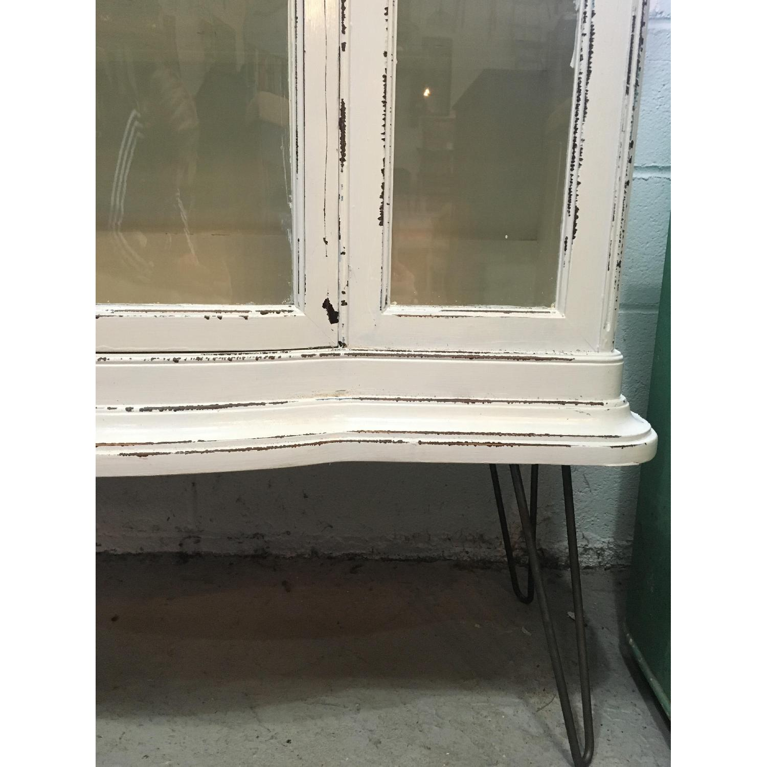 Antique Serpentine Bowed Glass China Cabinet - image-3