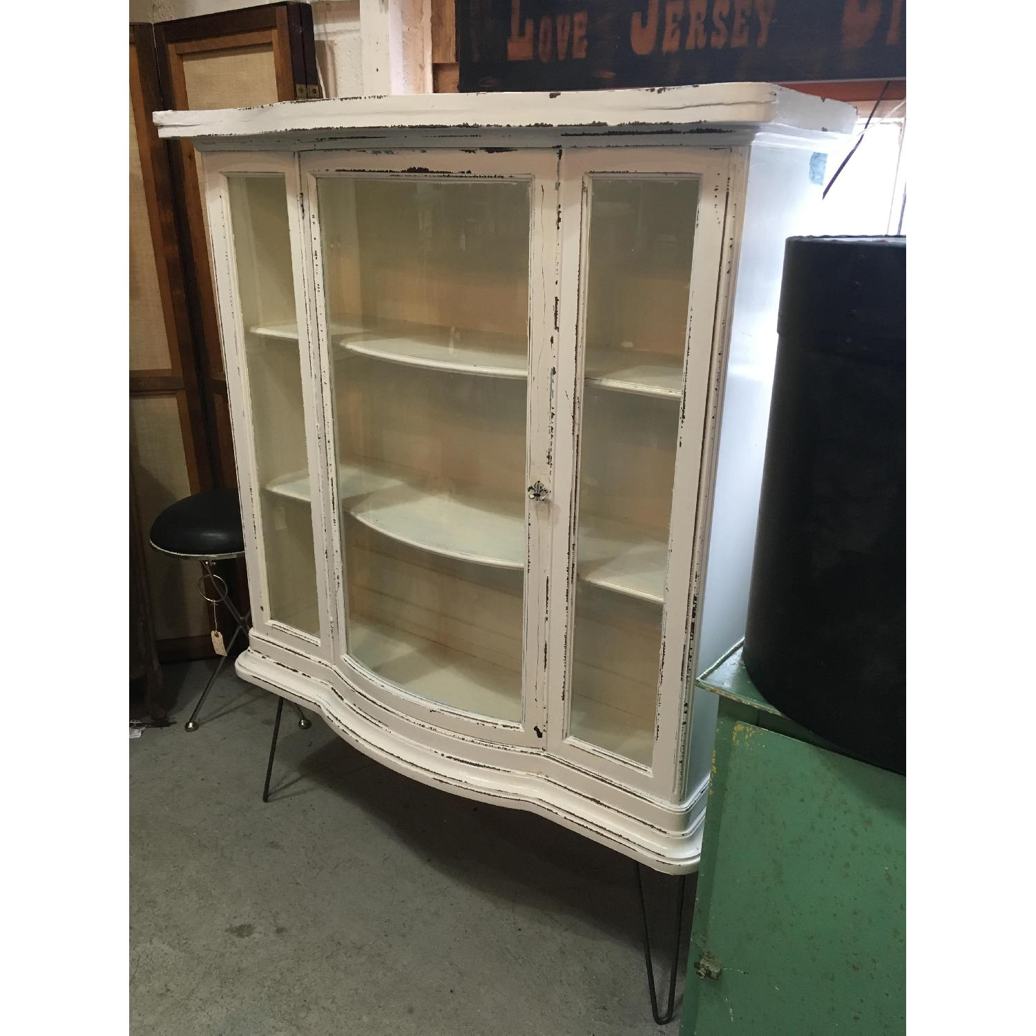 Antique Serpentine Bowed Glass China Cabinet - image-4
