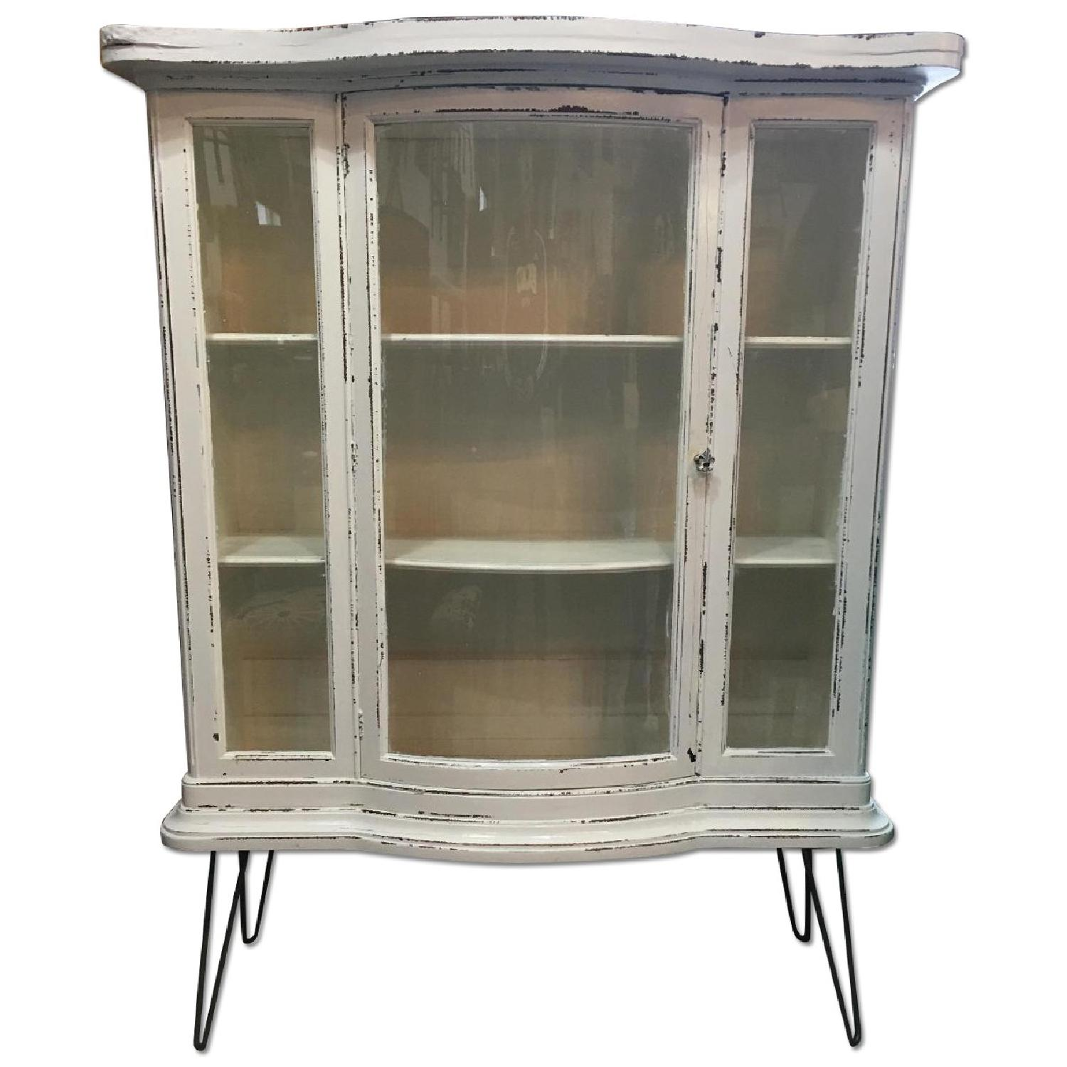 Antique Serpentine Bowed Glass China Cabinet - image-0