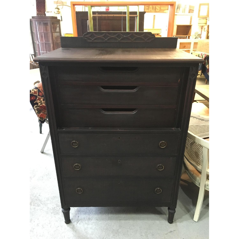 Antique Black Highboy Dresser - image-1