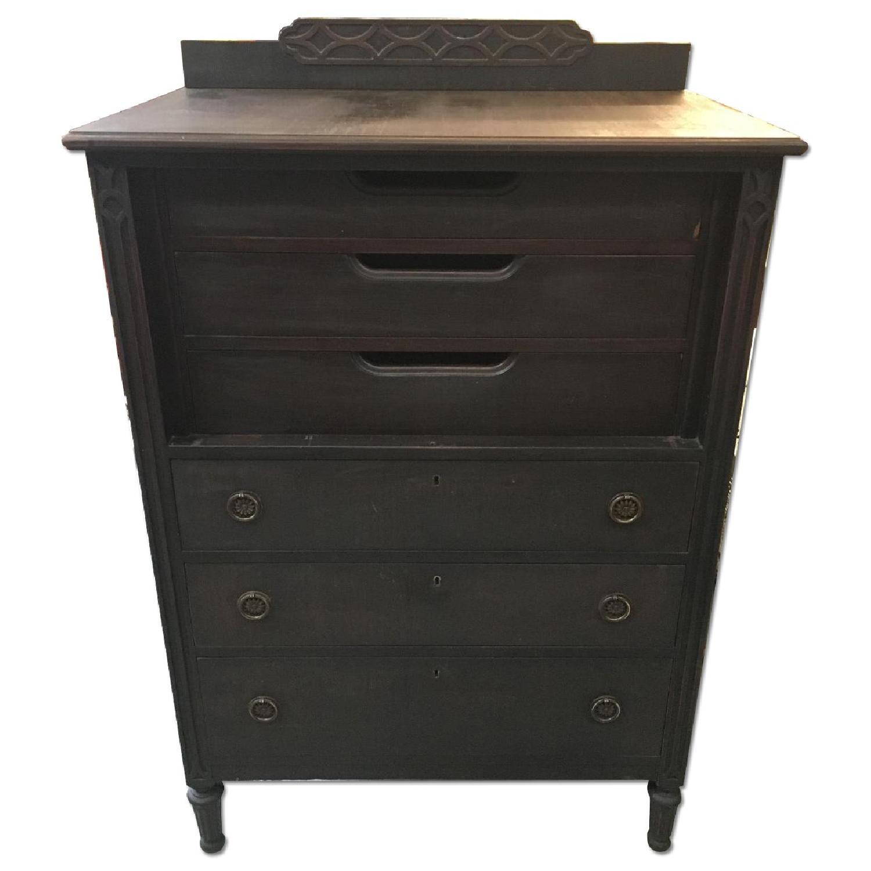 Antique Black Highboy Dresser - image-0