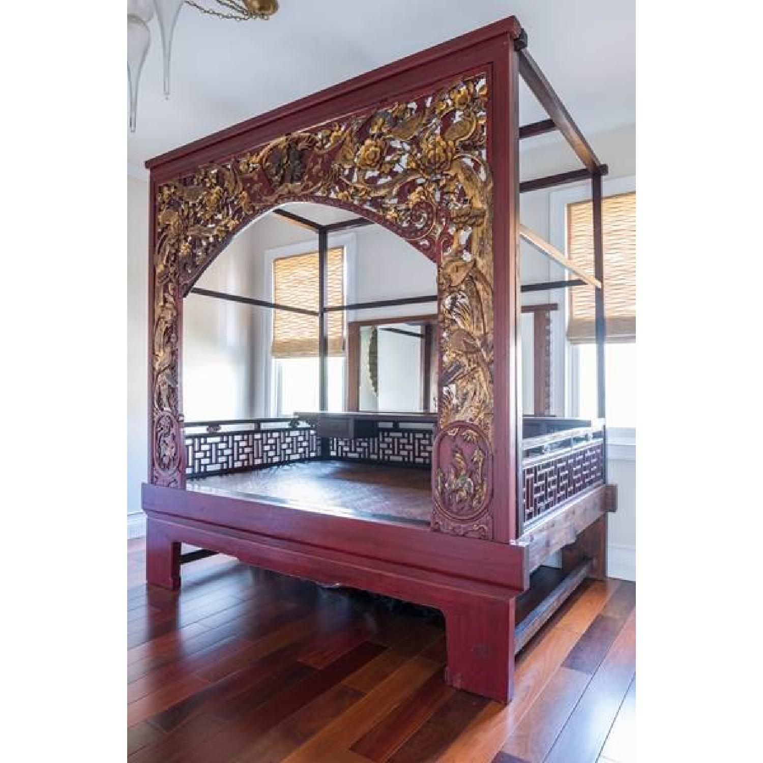 Chinese Wedding Lacquer Gilt Six-Posted Carved Canopy Bed in - image-1