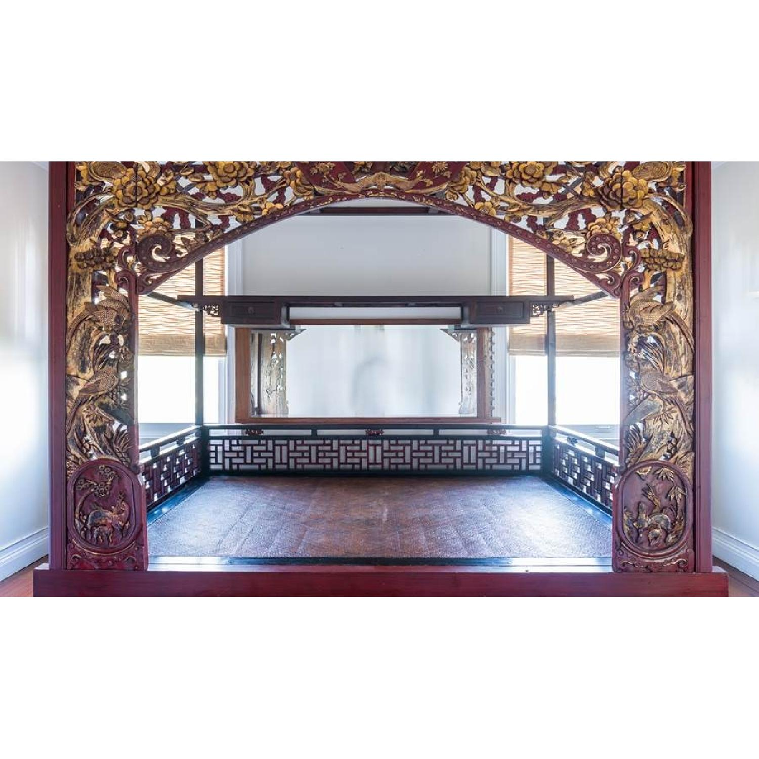 Chinese Wedding Lacquer Gilt Six-Posted Carved Canopy Bed in - image-2