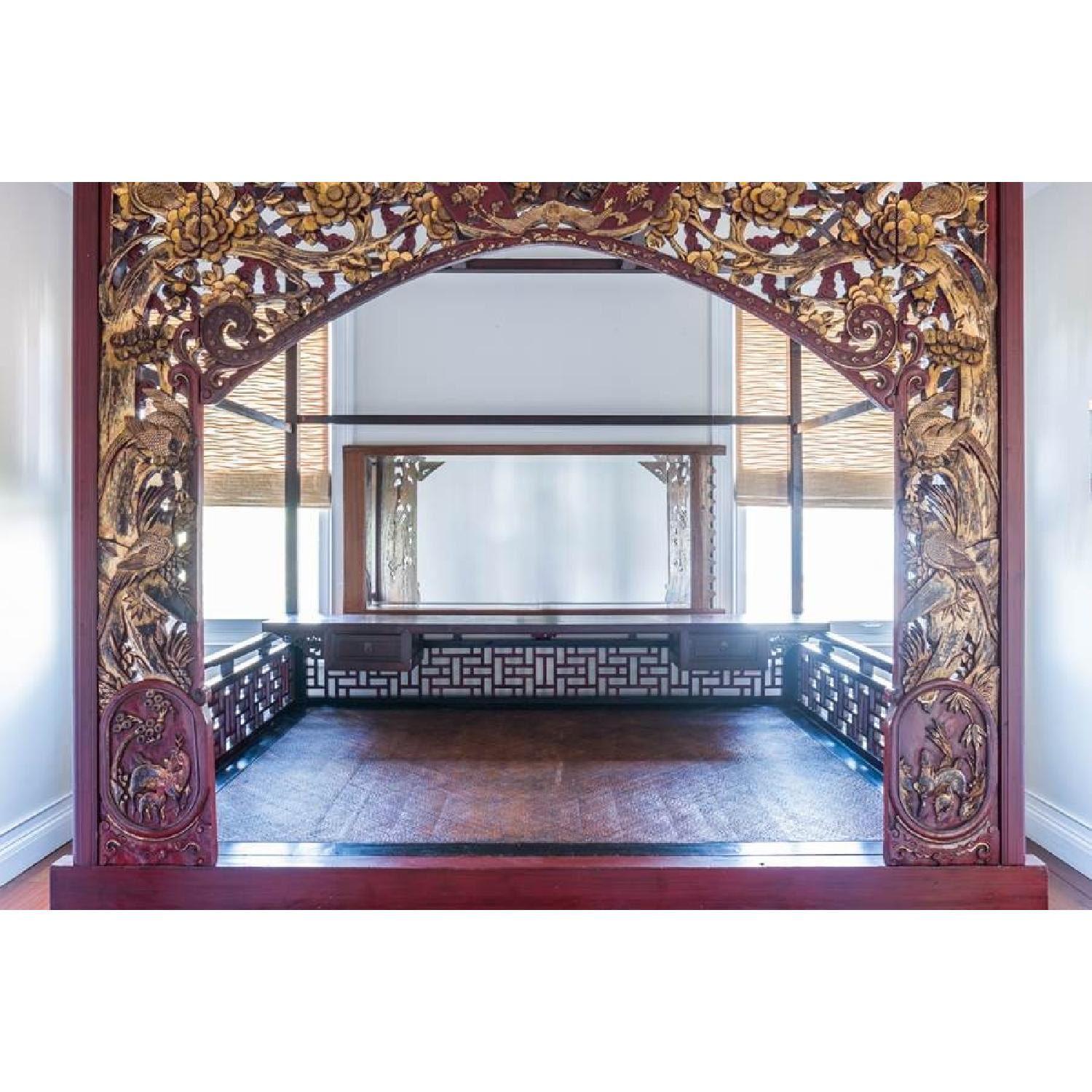 Chinese Wedding Lacquer Gilt Six-Posted Carved Canopy Bed in - image-3