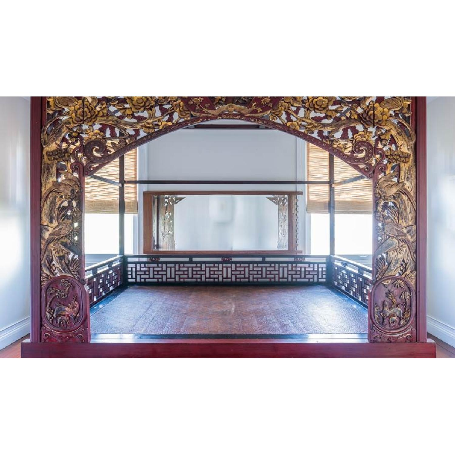 Chinese Wedding Lacquer Gilt Six-Posted Carved Canopy Bed in - image-4