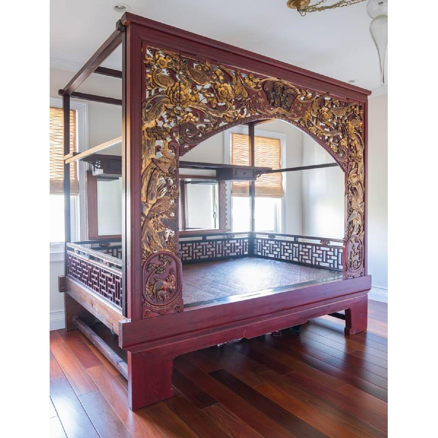 Chinese Wedding Lacquer Gilt Six-Posted Carved Canopy Bed in - image-5