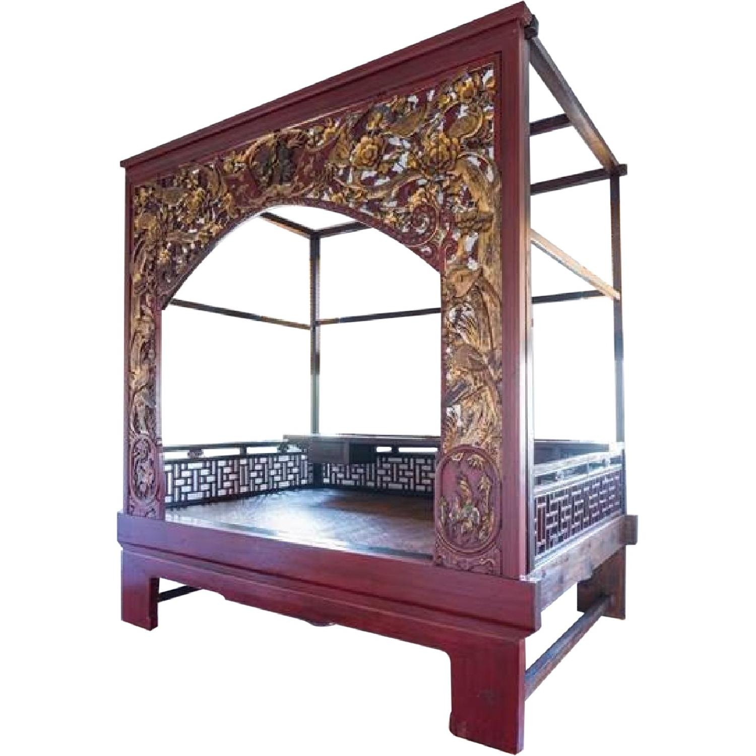 Chinese Wedding Lacquer Gilt Six-Posted Carved Canopy Bed in - image-0