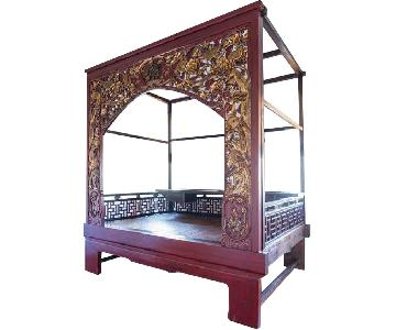 Chinese Wedding Lacquer Gilt Six-Posted Carved Canopy Bed in