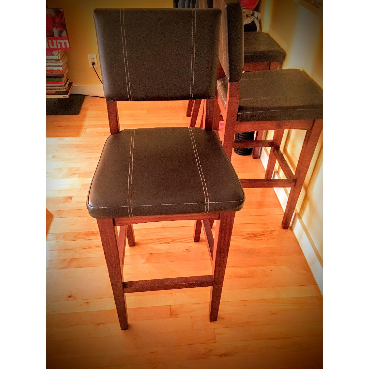 Leather High Bar Stools - image-1