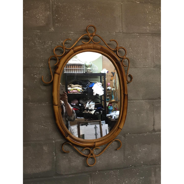 Vintage Mid Century Modern French Rattan Bamboo Oval Sunburst Mirror - image-1
