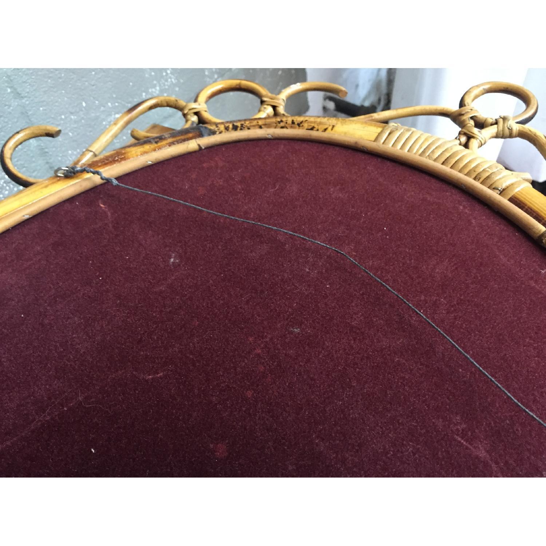 Vintage Mid Century Modern French Rattan Bamboo Oval Sunburst Mirror - image-3