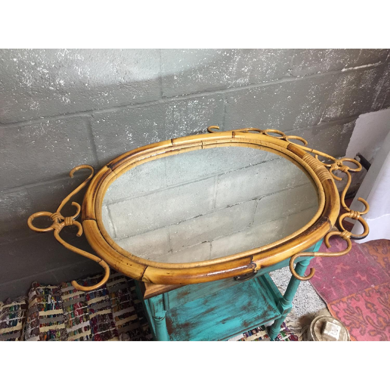 Vintage Mid Century Modern French Rattan Bamboo Oval Sunburst Mirror - image-4