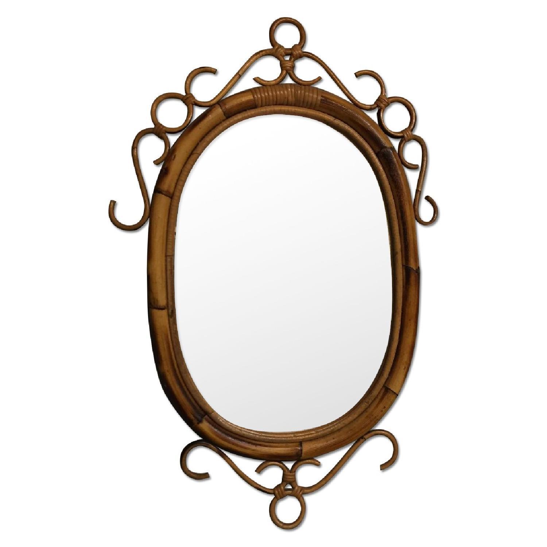 Vintage Mid Century Modern French Rattan Bamboo Oval Sunburst Mirror - image-0