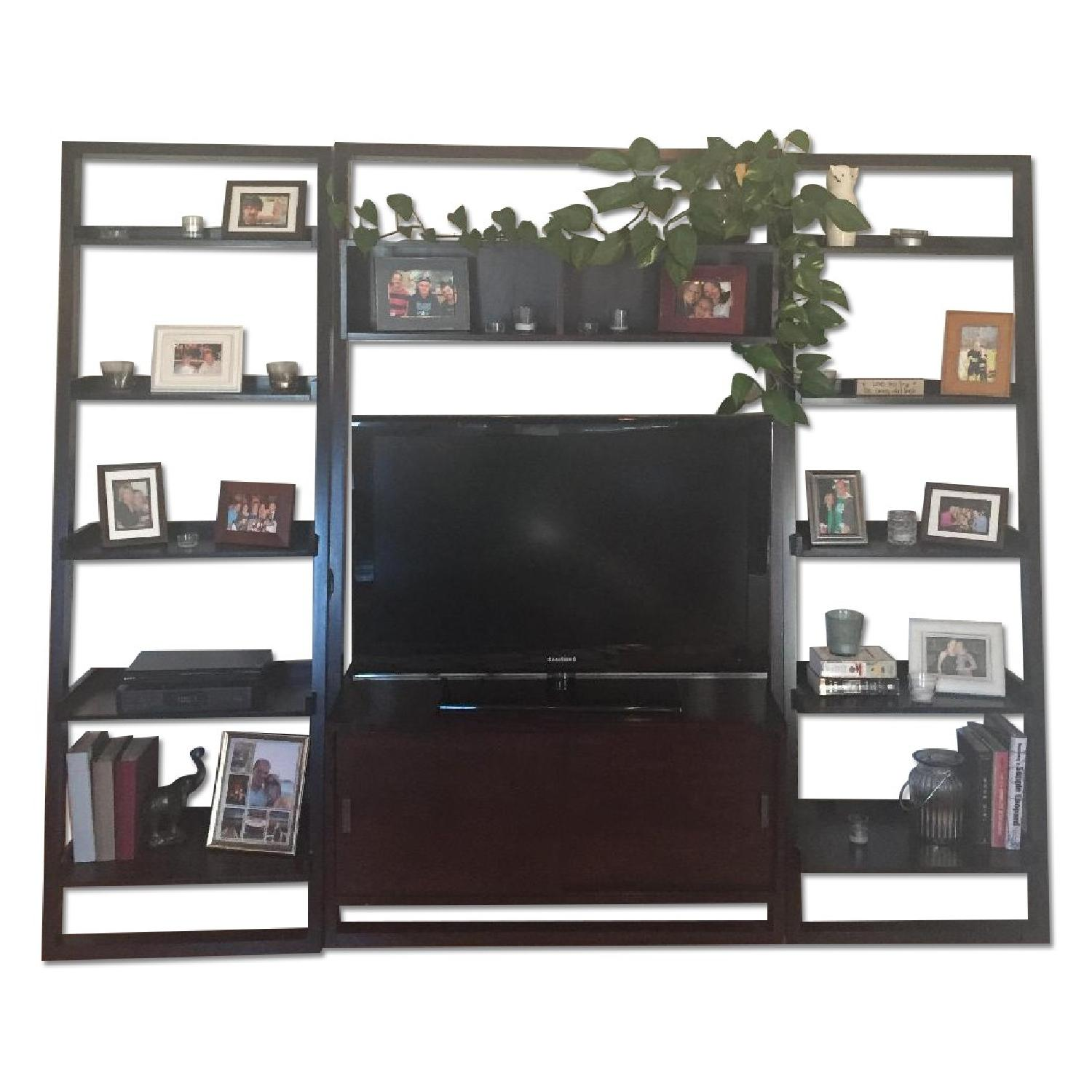 Crate & Barrel TV Stand w /Bookcases - image-0