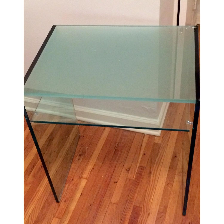 Custom Tonelli Italian Glass Console Table w/ Shelf - image-1