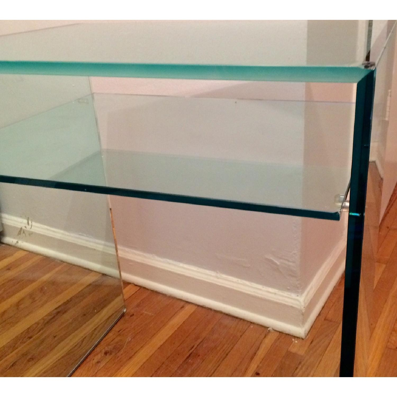 Custom Tonelli Italian Glass Console Table w/ Shelf - image-3