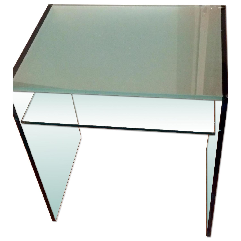Custom Tonelli Italian Glass Console Table w/ Shelf - image-0