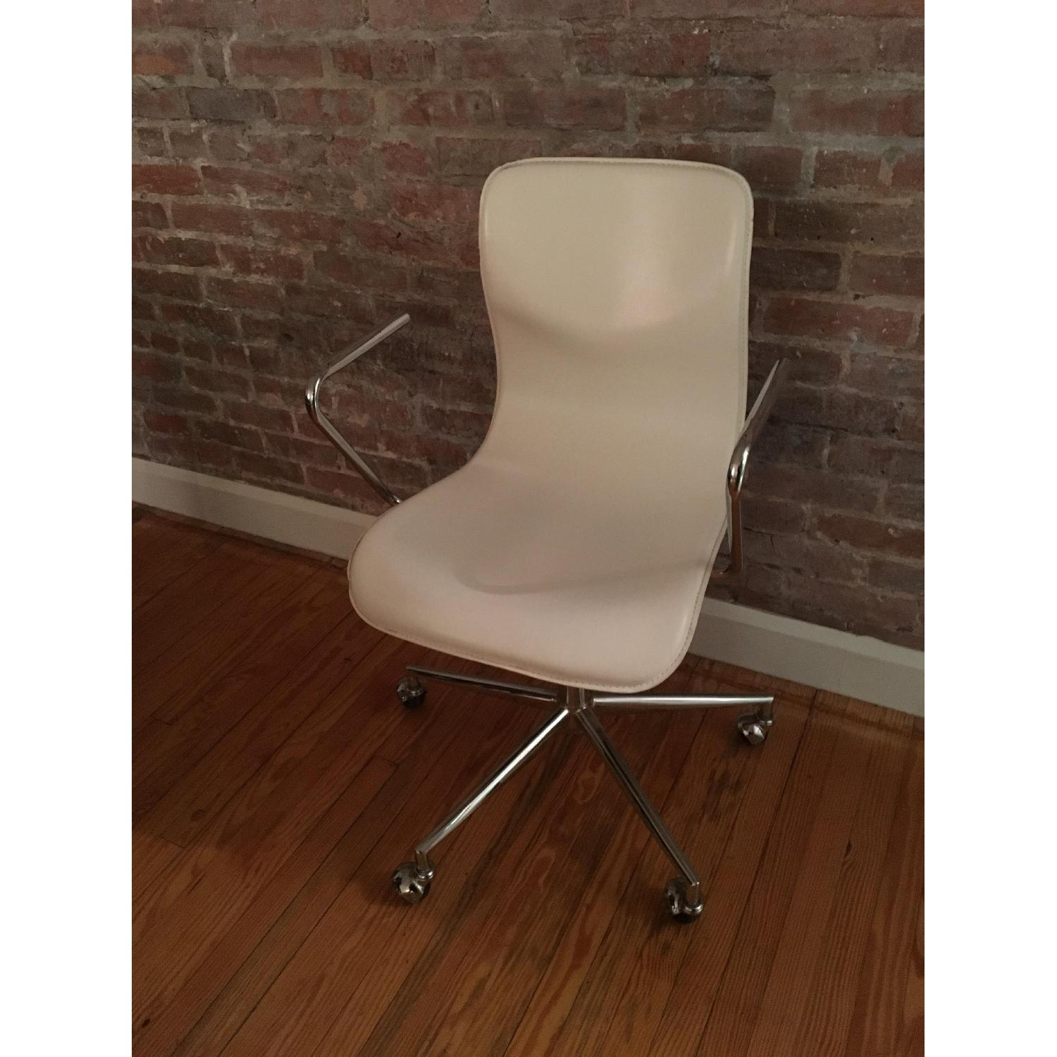 CB2 Form White Office Chair w/ Arm Rest - image-2