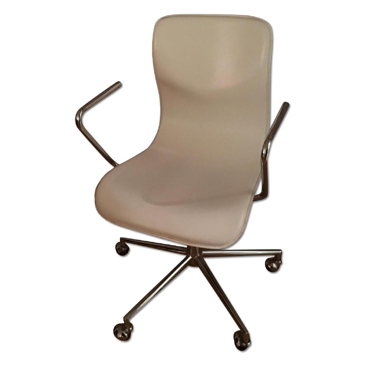 CB2 Form White Office Chair w/ Arm Rest - image-0