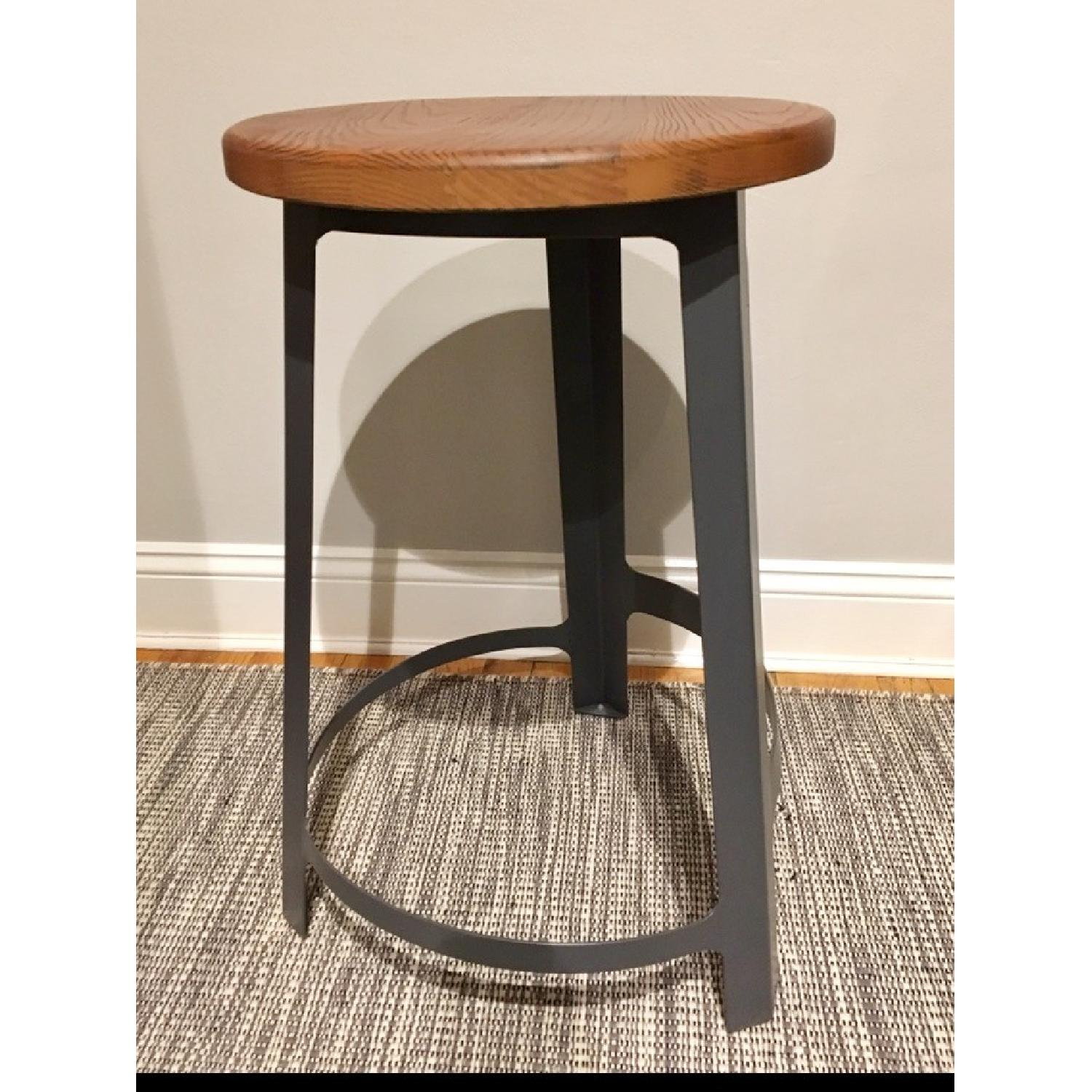 Mid Century Metal Frame Counter Stools w/ Solid Wood Seats - image-2