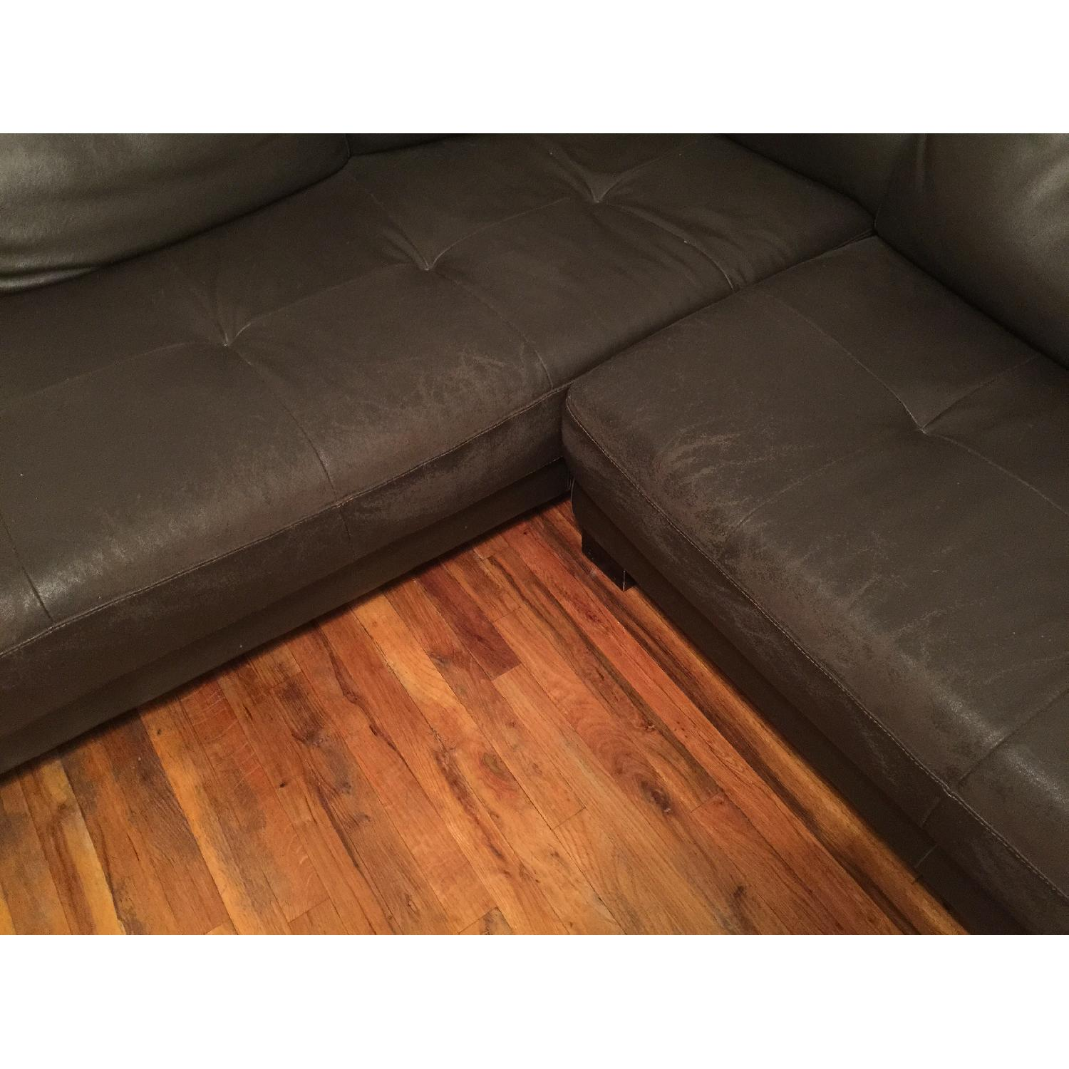Black Leather 2 Piece Sectional Sofa - image-3