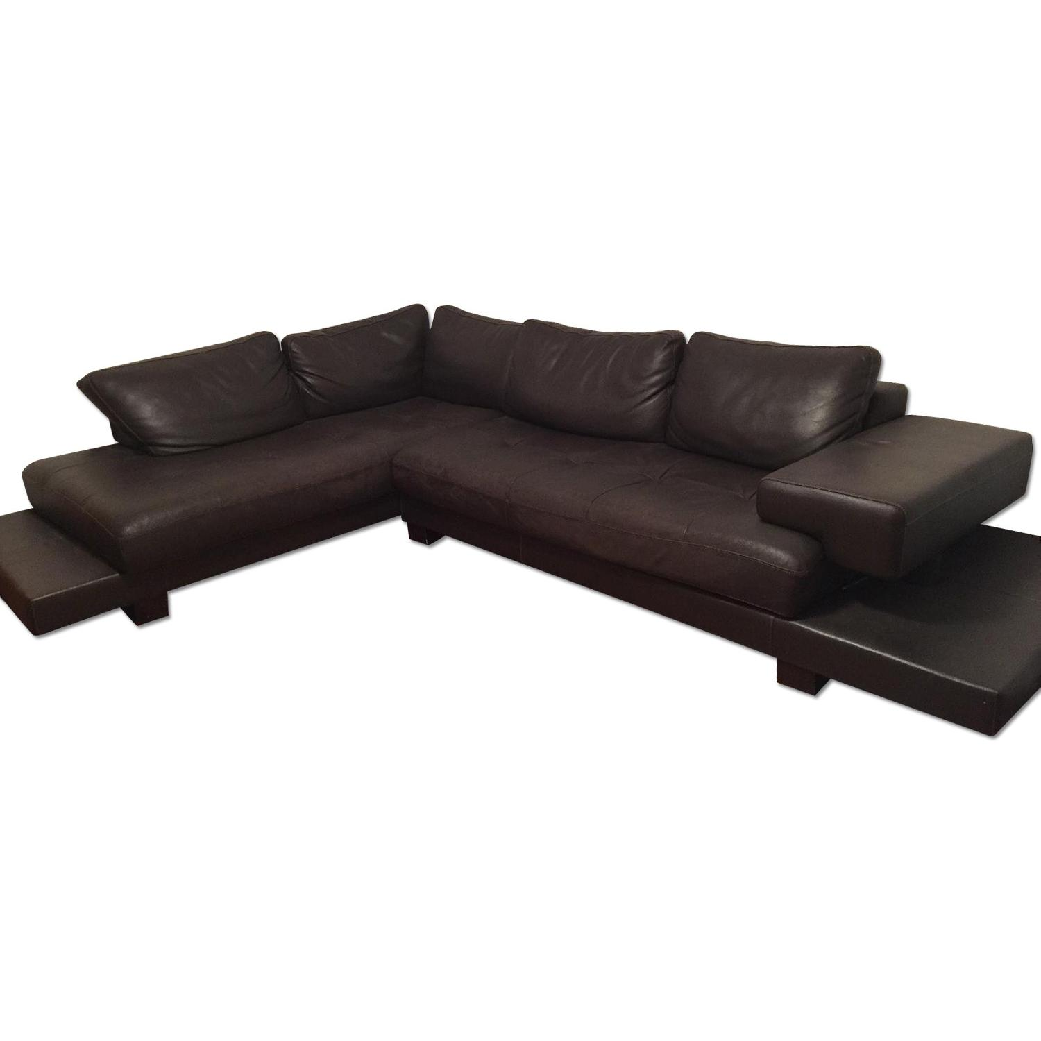 Black Leather 2 Piece Sectional Sofa - image-0