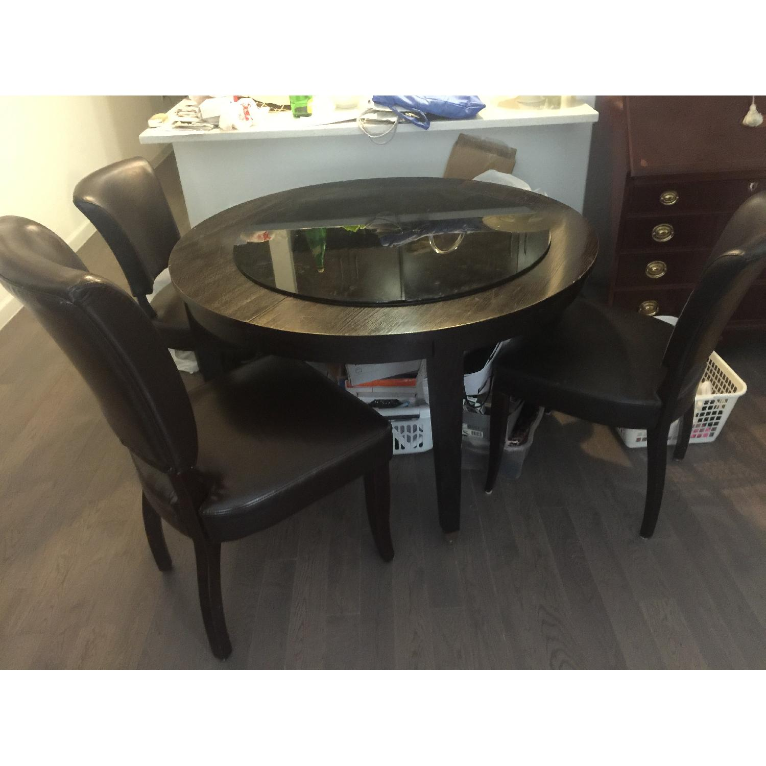 Crate & Barrel Black Ash Extendable Dining Table w/ 3 Chairs - image-1