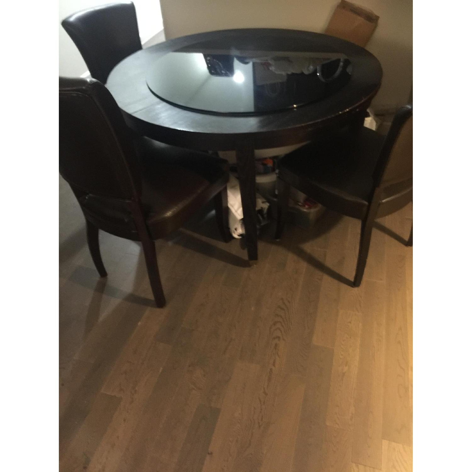 Crate & Barrel Black Ash Extendable Dining Table w/ 3 Chairs - image-4