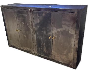 Vintage Steel Metal Distressed Bookcase/Media Cabinet