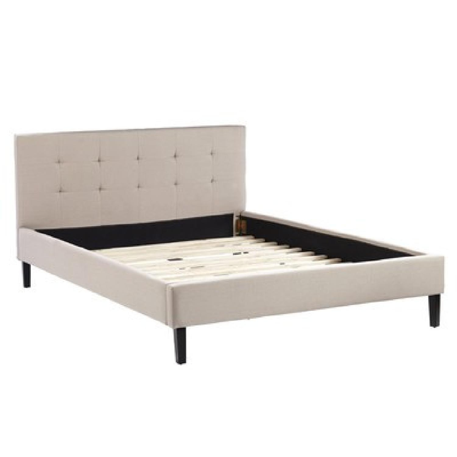 Queen Bed Frame w/ Linen Upholstered Tufted Headboard in Natural Oatmeal - image-1